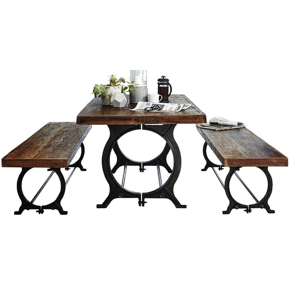 Little Tree Furniture - Hyatt Canning Industrial Table & 2 Benches | Tables | Dining Room
