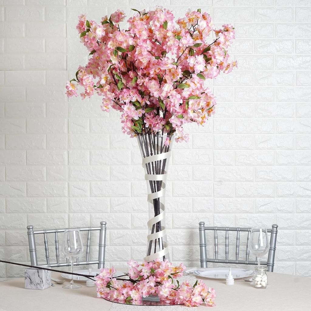 10 Pack 40 Tall Pink Silk Faux Cherry Blossoms Branches Artificial Flowers With Images Cherry Blossom Centerpiece Floral Arrangements Wedding Artificial Flowers