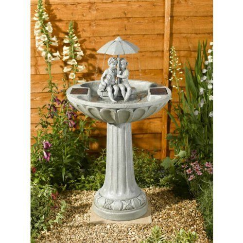 Small Solar Powered Water Feature Grey Resin Birdbath Water