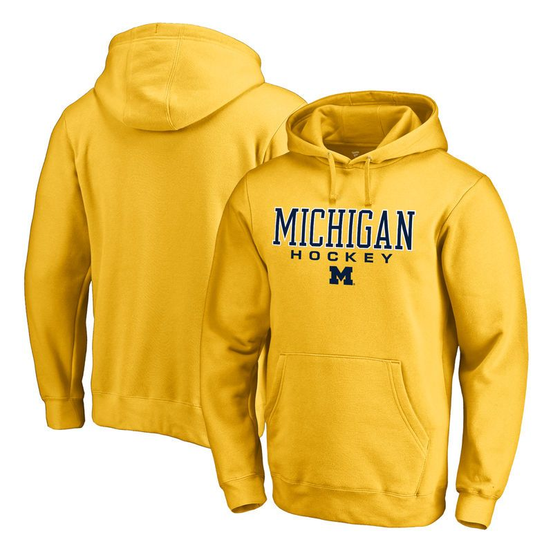 b2c8db21c Michigan Wolverines Fanatics Branded True Sport Hockey Pullover Hoodie -  Yellow