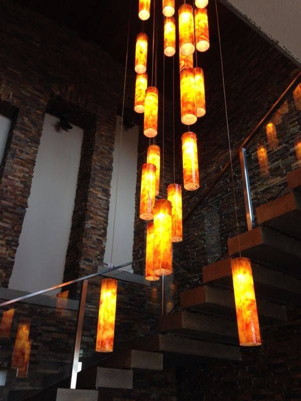 Modern Pendant Lights In High Ceiling Foyer By Galilee Lighting We Make Custom Lighting For Two Lev Staircase Chandelier Foyer Lighting Stained Glass Lighting