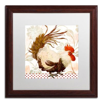 """Trademark Art 'Rooster Damask II' Framed Painting Print Mat Color: White, Size: 16"""" H x 16"""" W x 0.5"""" D"""