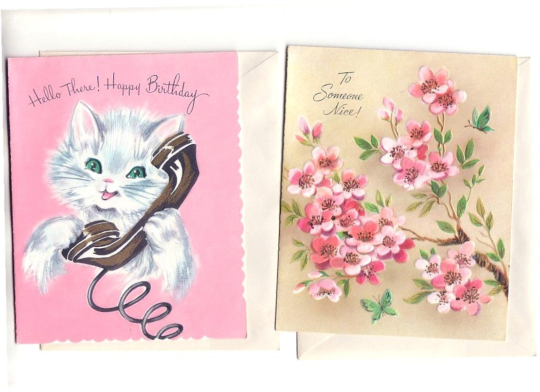 Vintage Flowers Birthday Cards ~ Vintage greetings happy birthday kitty and flowers cards vintage