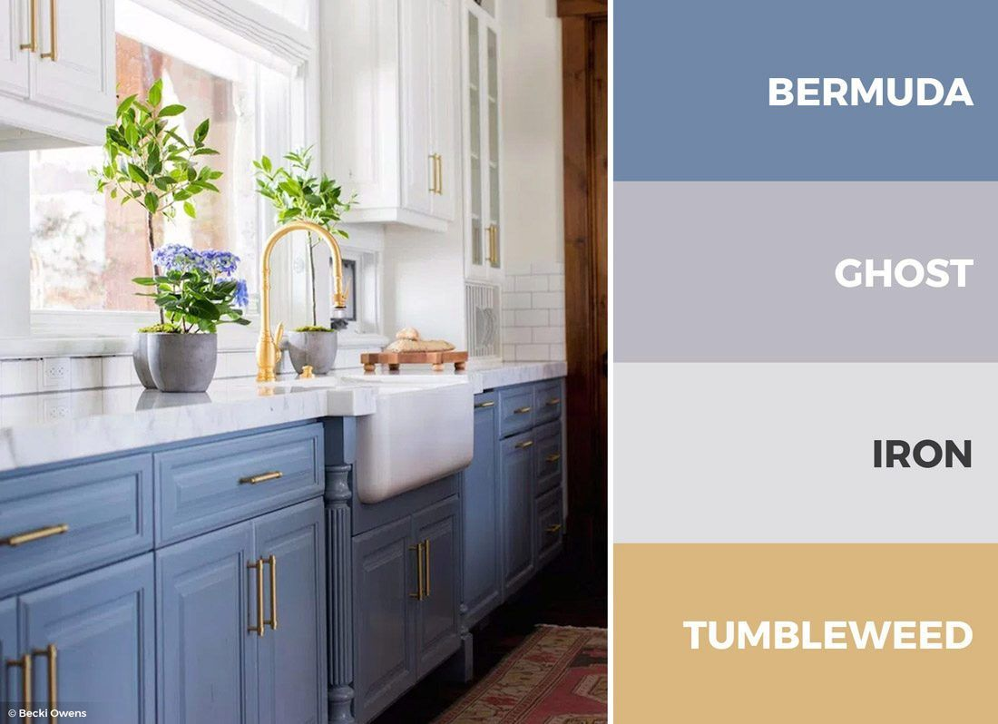 A Blue Gold And White Kitchen Color Scheme Is Sophisticated