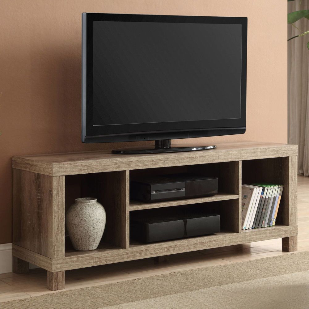 Details about Small Tv Stand With Shelves Media Storage ...