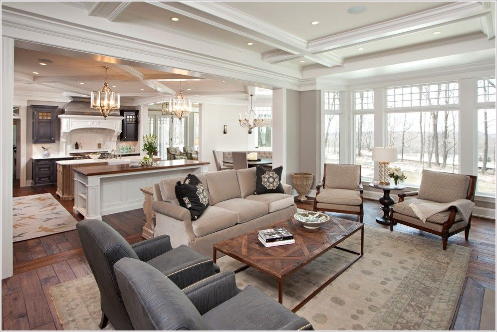 Kitchen Design : Living Room Traditional Minneapolis Area Rug Breakfast  Nook Coffered Ceiling Dark Stained Wood