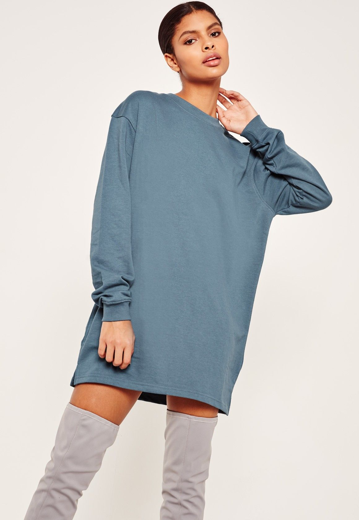 Missguided - Oversized Long Sleeve Jumper Dress Blue | CLOTHES ...