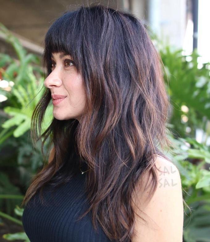 long layered haircut with bangs  thick hair styles long