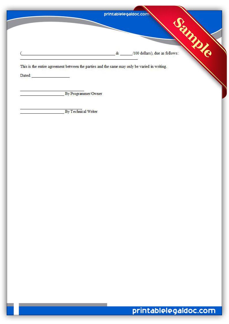 Printable technical manual writing agreement Template | PRINTABLE ...