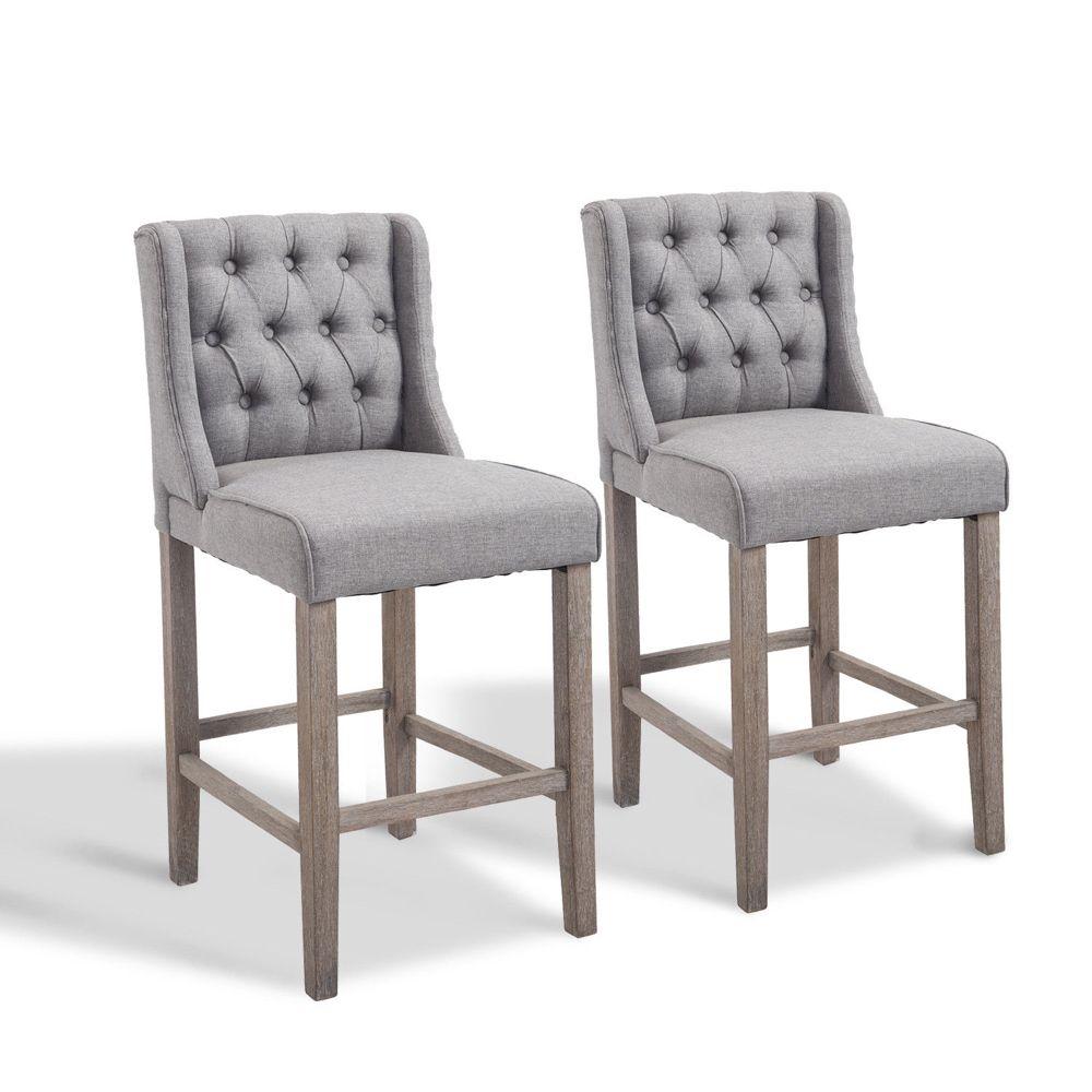 Homcom 40 Tufted Wingback Counter Height Armless Bar Stool Dining Chair Set Of 2 Grey Walmart Com Dining Chair Set Wingback Dining Chair Dining Chairs