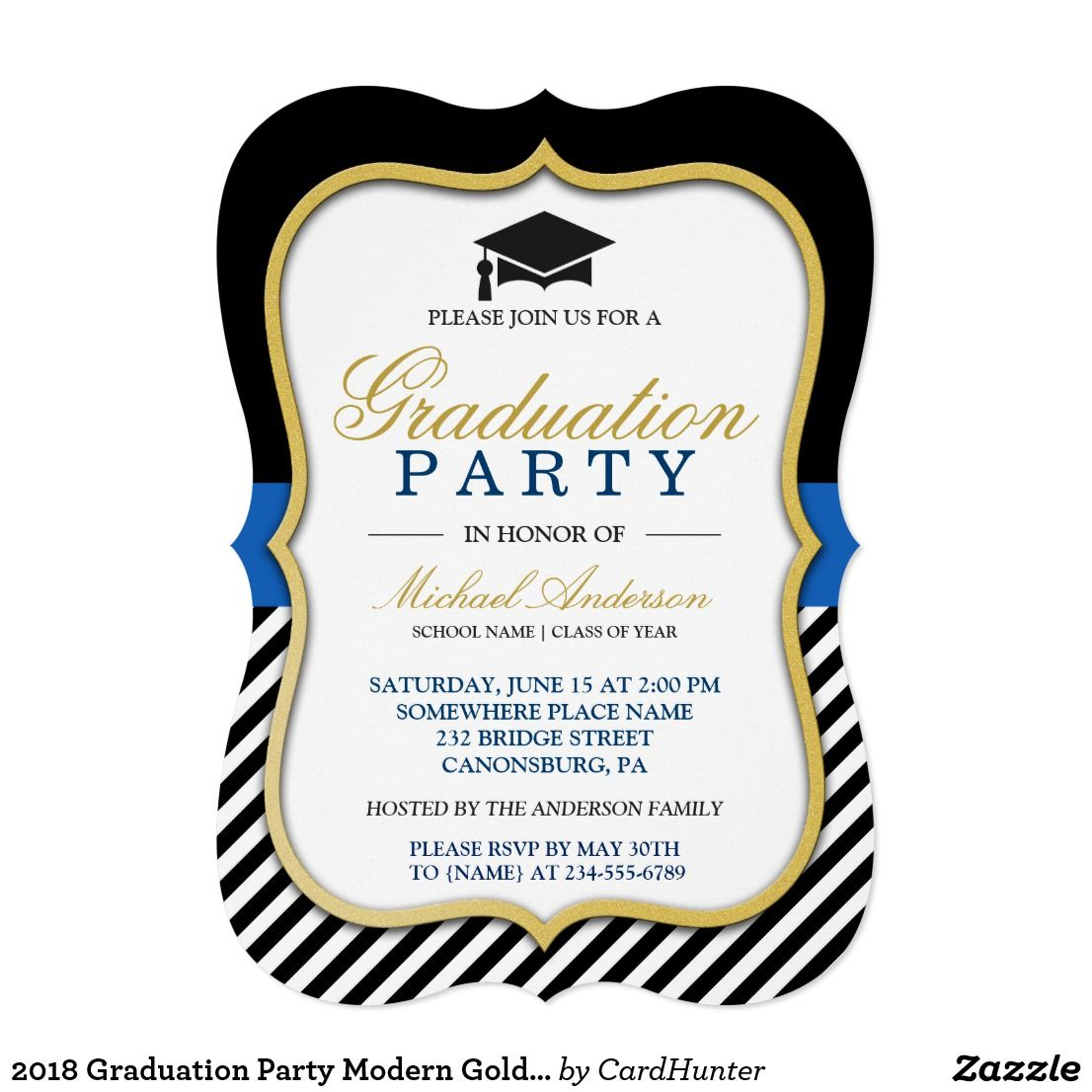 2018 Graduation Party Modern Gold Bracket Frame Card   Party invitations
