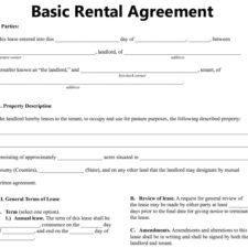 Examples Basic Rental Agreement Or Residential Lease A Part