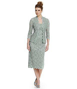 063f698b8bad Alex Evenings Petite Sequined Lace Jacket Dress Tea Length Dresses, Blue  Dresses, Lace Jacket