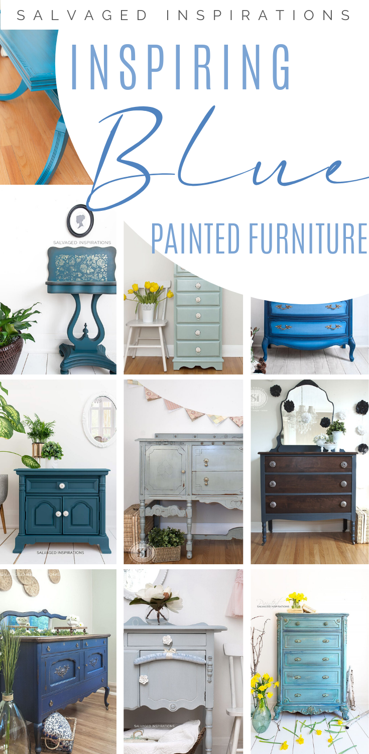 Inspiring Blue Painted Furniture | DIY Blue Furniture Makeover | Salvaged Inspirations #siblog #salvagedinspirations #paintedfurniture #furniturepainting #DIYfurniture #furniturepaintingtutorials #howto #furnitureartist #furnitureflip #salvagedfurniture #furnituremakeover #beforeandafterfurnuture #paintedfurnituredieas #dixiebellepaint #redesignwithprima