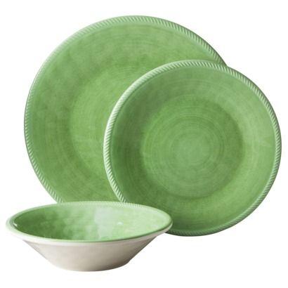 Threshold™ Green 12 Piece Roped Vasaio Melamine Dinnerware Set (Great for kids - almost  sc 1 st  Pinterest & Threshold™ Green 12 Piece Roped Vasaio Melamine Dinnerware Set ...
