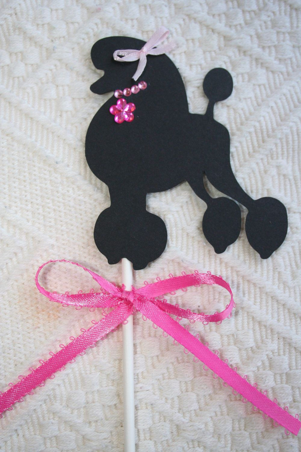 Black Fancy French Poodle- Cup Cake Topper - Party Favor. $12.00, via Etsy.