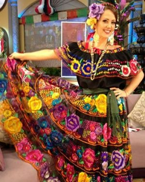 Chiapas Authentic Typical Dress  This dress was worn by Andrea Legarreta to celebrate Mexico's Independence.  She is a famous show host in a morning program called Hoy, in Mexico's leading TV chain; Televisa.  She actually took the dress to her TV program just before Mexico's Independence Day (September 2012).  These dresses are typical in the state of Chiapas and they are made of flowers of different colors embroidered over silk.