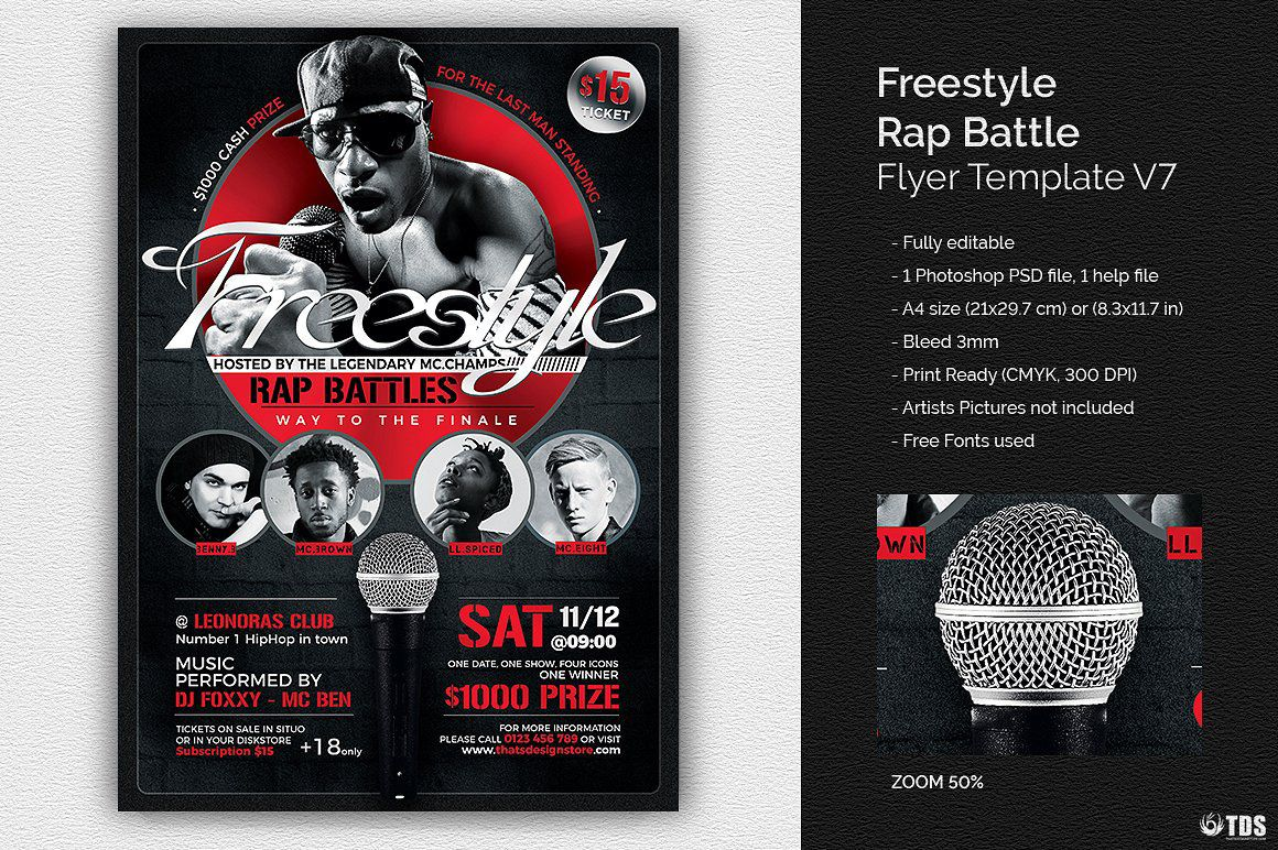 freestyle rap battle flyer template v7 thats design store flyer