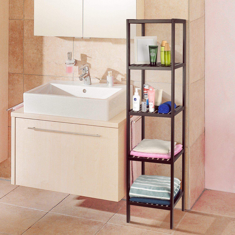 Homfa Bamboo Bathroom Shelf 5tier Tower Free Standing Rack