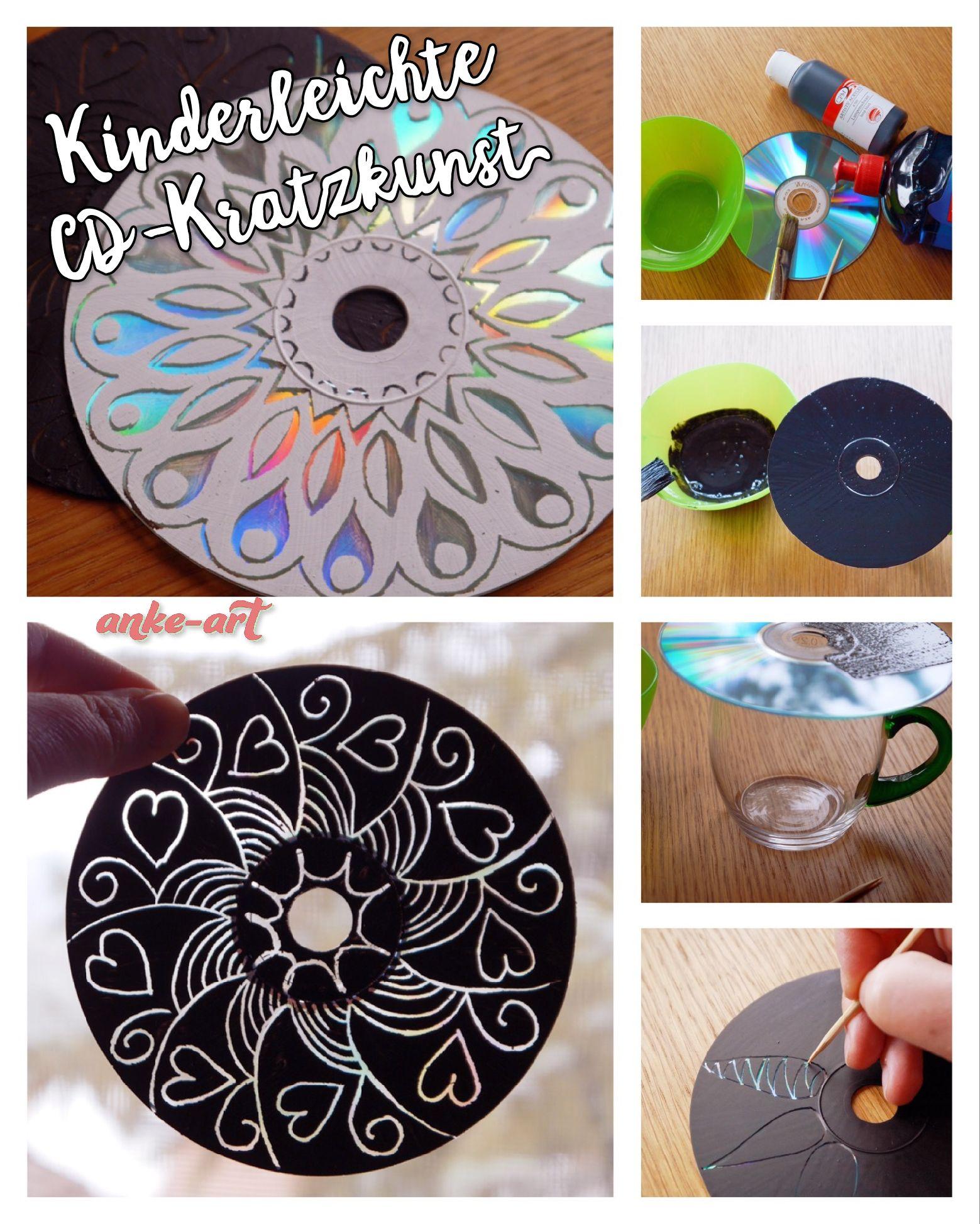 kinderleichte cd kratzkunst upcycling cd 39 s acrylfarbe zahnstocher cd upcycling pinterest. Black Bedroom Furniture Sets. Home Design Ideas