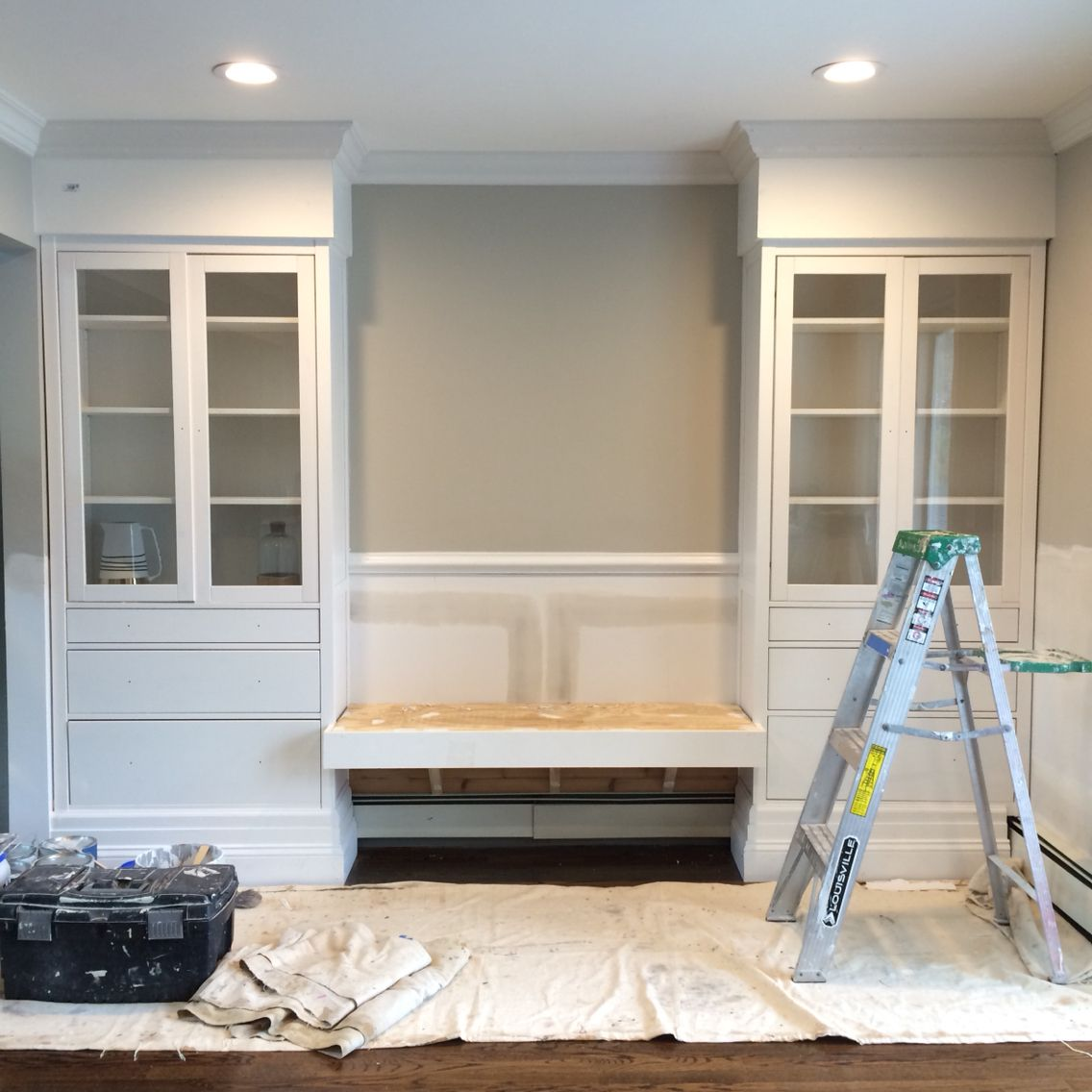Hemnes Cabinets From Ikea W Extra Molding To Look Like Built Ins
