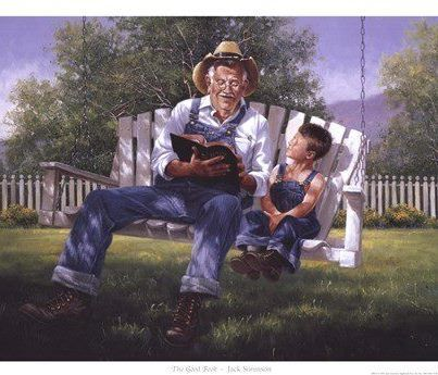 Grandpa ~ little boy ~ reading the Bible ~ this is great ~ smiles