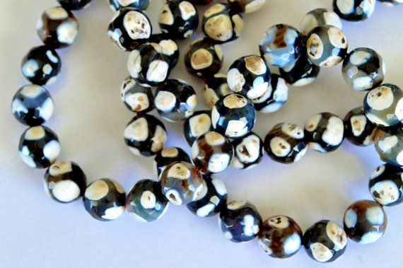 Patterned Agate Stone Beads Black and White 10mm by TheBeadBandit, $3.99