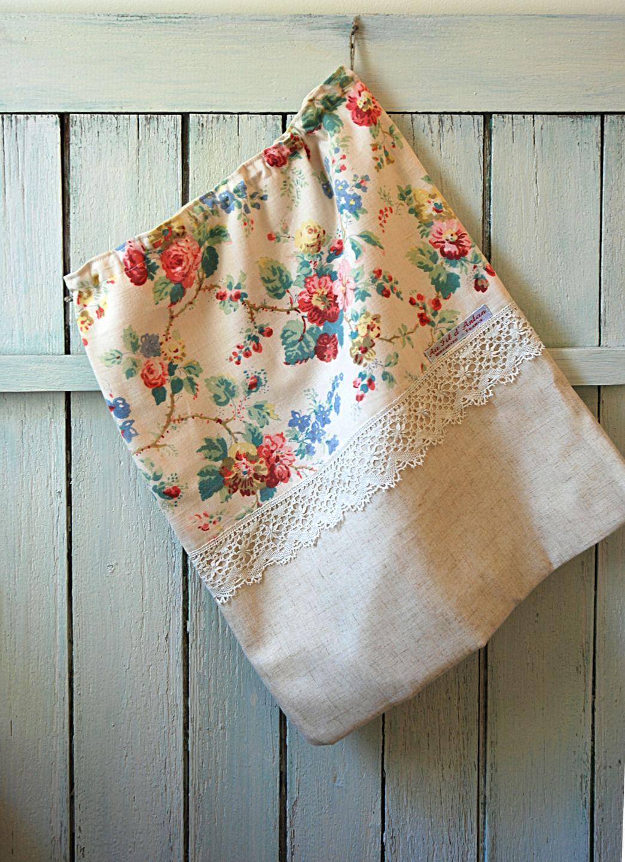 sac linge sac chaussures sac range tout fleuri tissu ancien coton dentelle tissus. Black Bedroom Furniture Sets. Home Design Ideas