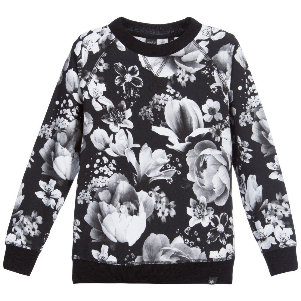 Girls Black & White Floral 'Raewyn' Top, Molo, Girl