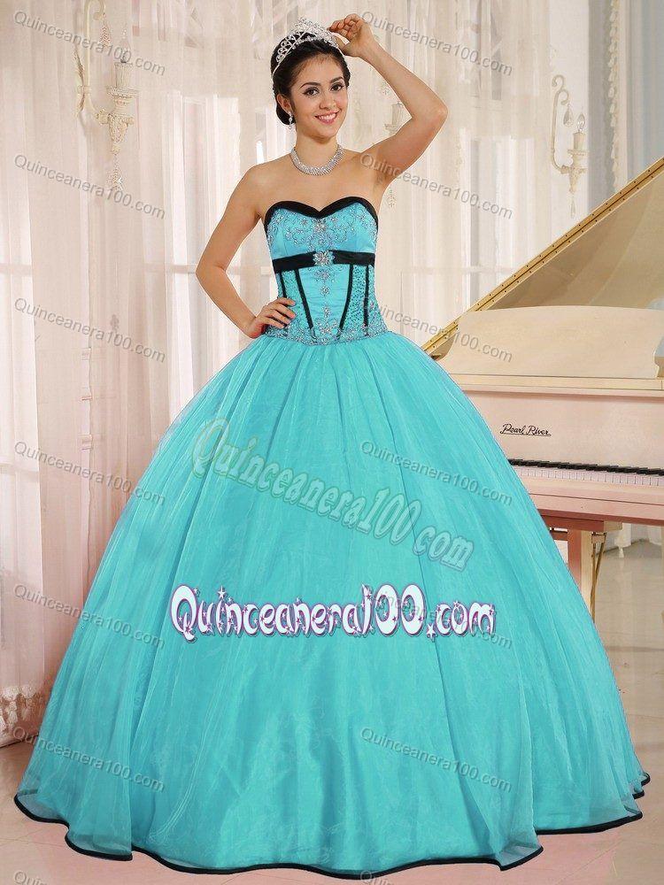 Appliqued Bodice Mint Colored Sweet 1516 Birthday Dress Aqua