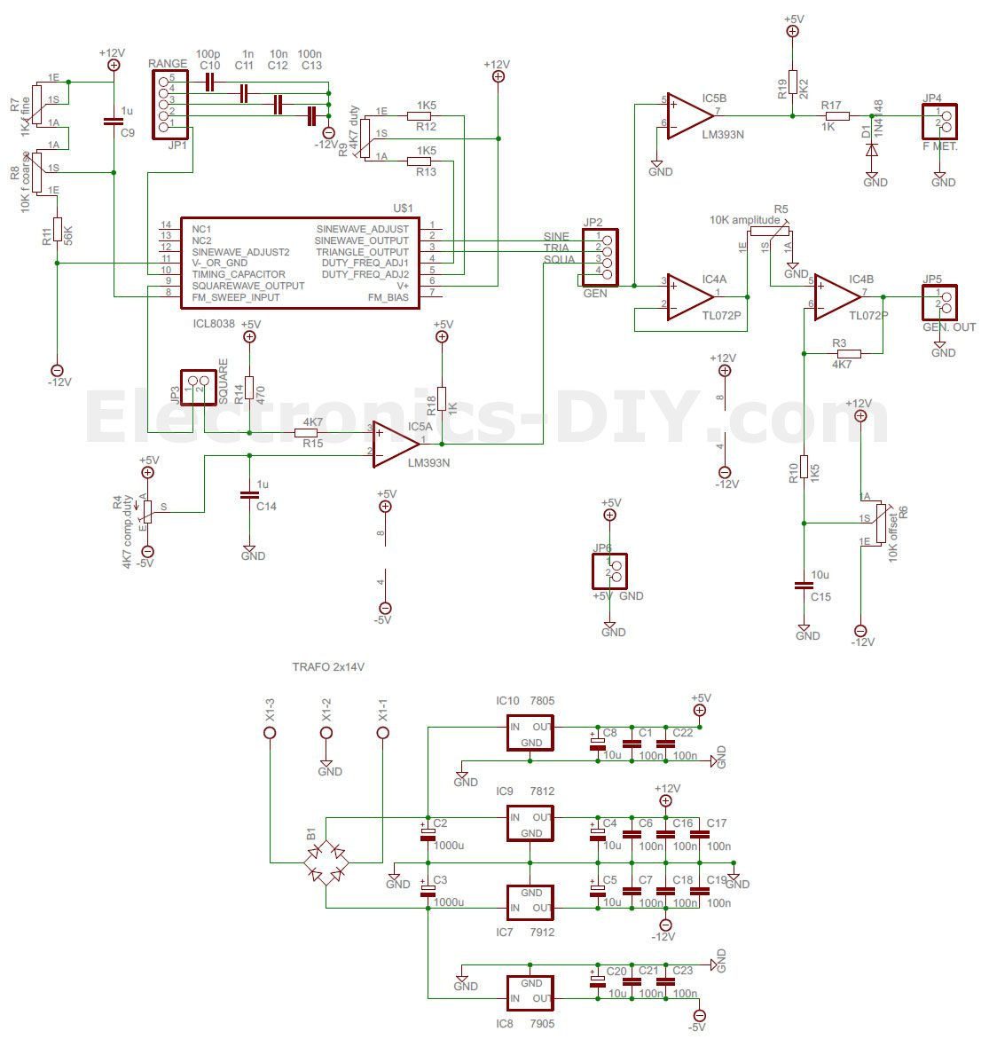 ICL8038 Function Generator | ELECTRONICA | Pinterest | Function ...