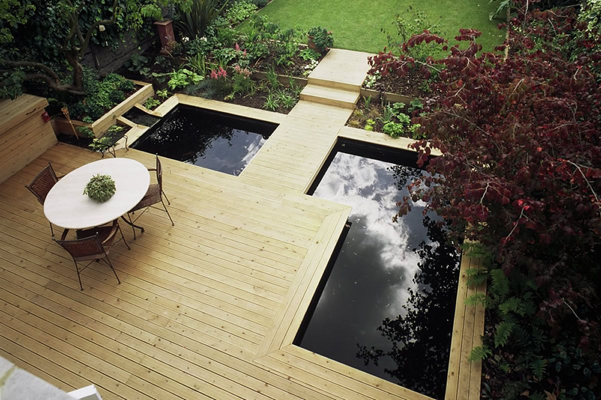 modern water garden design Contemporary Softwood Deck Modern