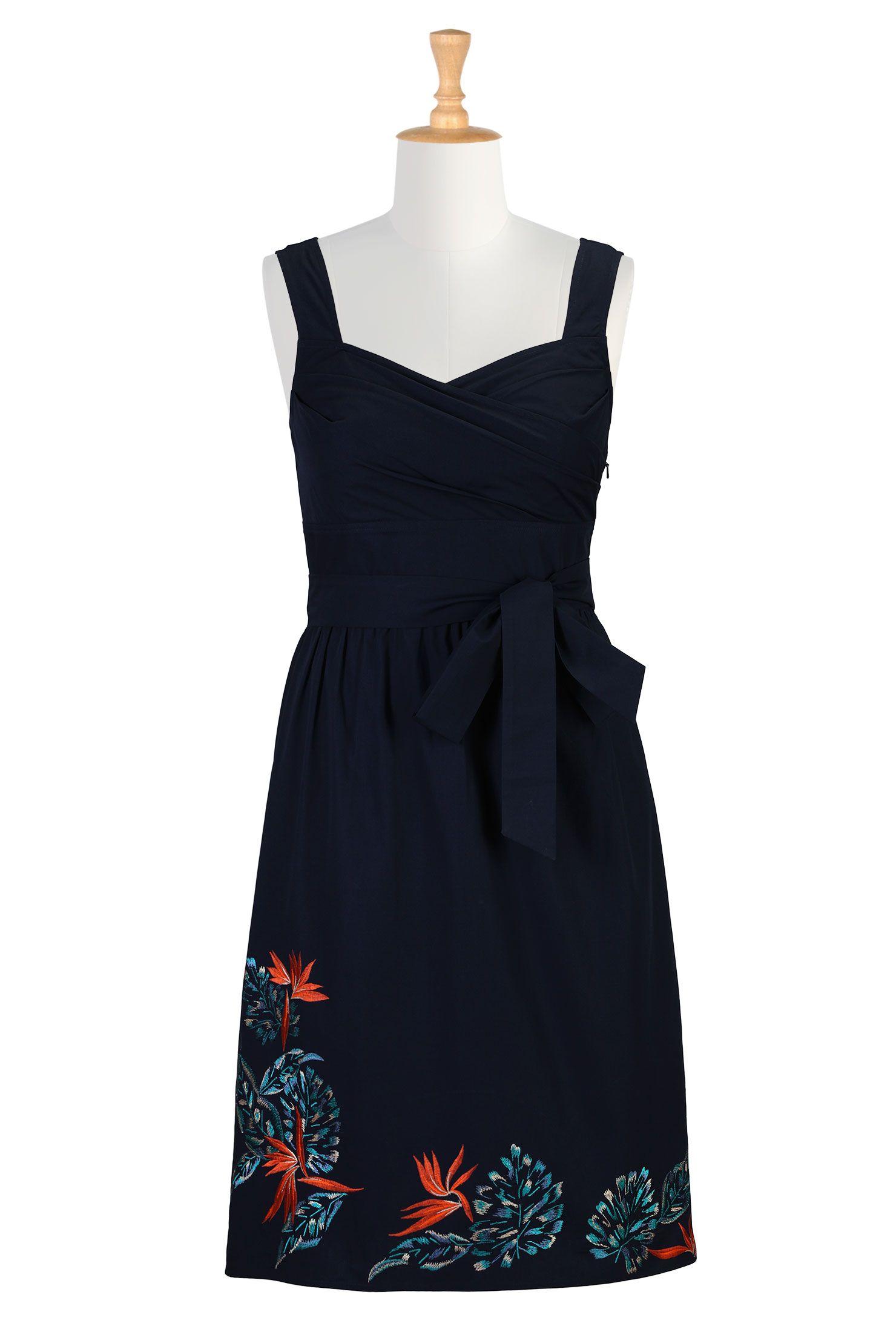Tropical floral embellished dresses plus size fituflare dresses