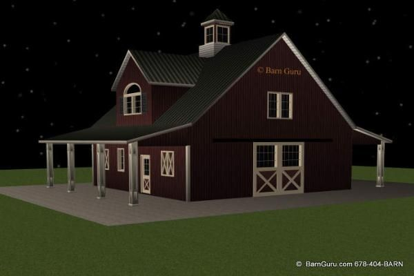 Barn Plans With Living Quarters - 4 Stalls - 2 Bedrooms Design FP ...