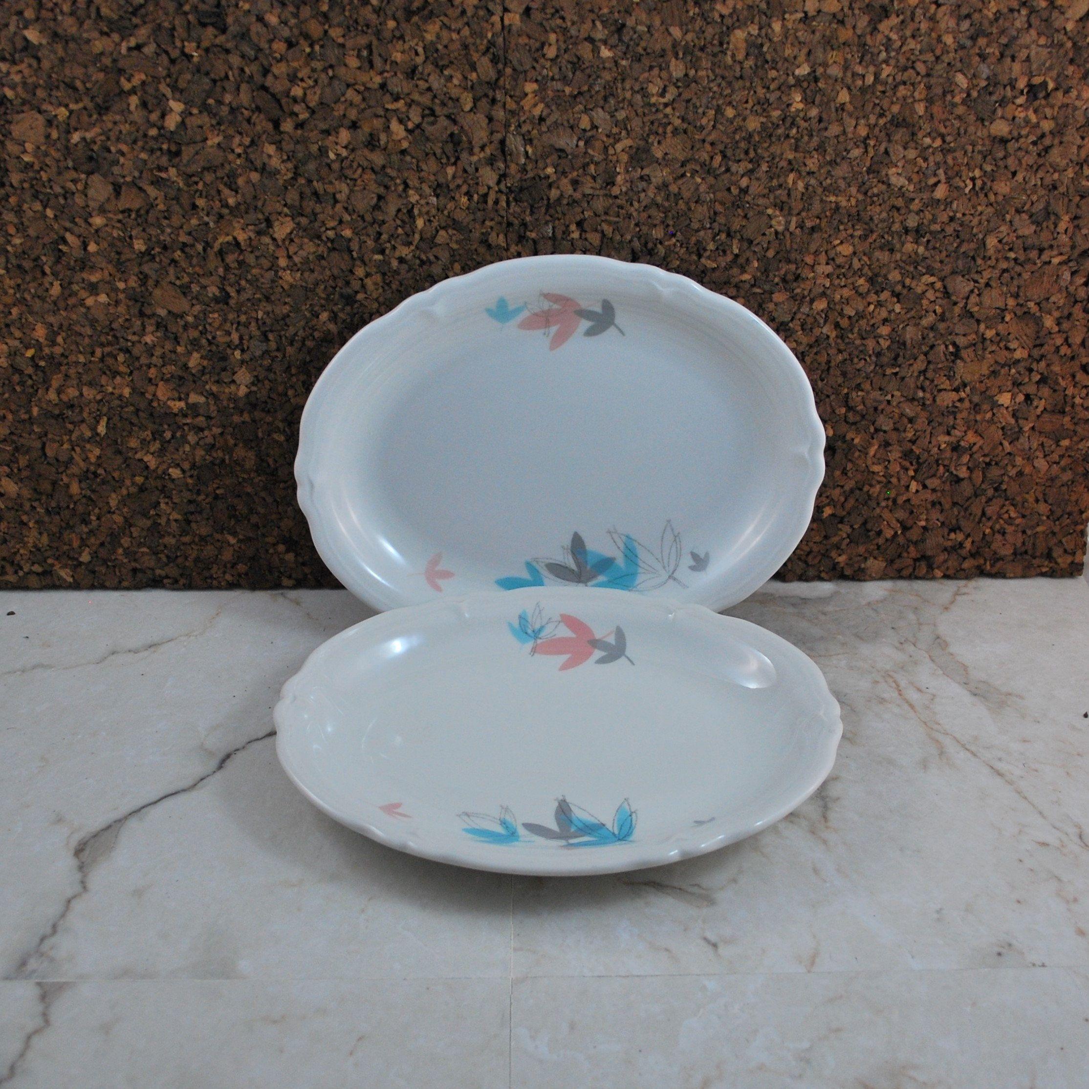 Set Of 2 Shenango Plates, SHO93, RimRoc, WelRoc, Aqua Gray