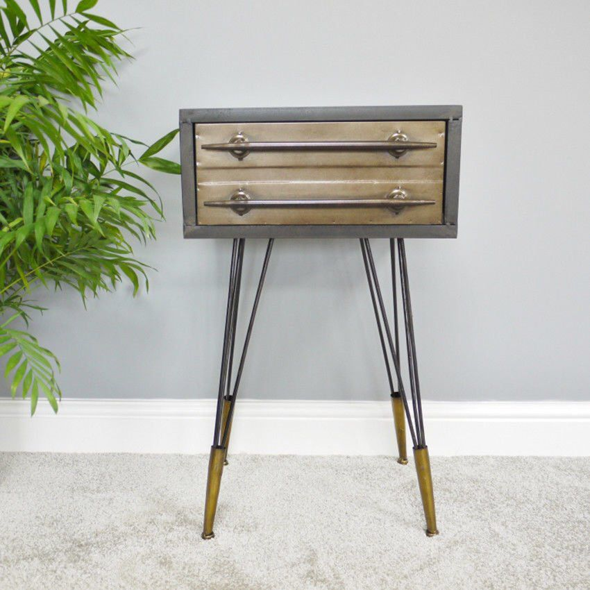Metal Double Drawer Bedside Cabinet Industrial Steel Chest Of