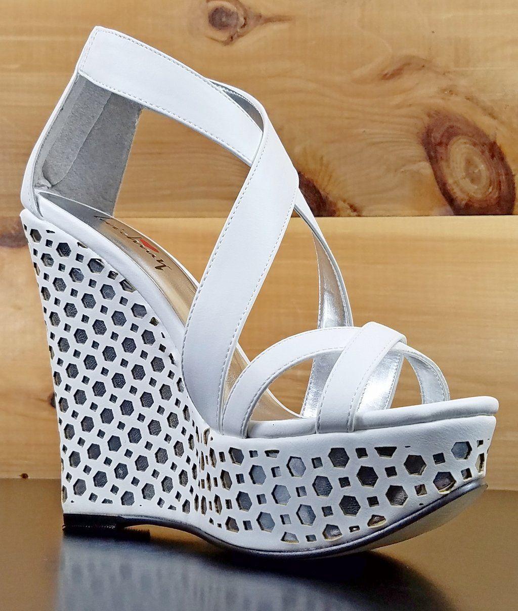73312a2b955 Luichiny Cor Enna White Silver Wedge Sandal Shoe 5