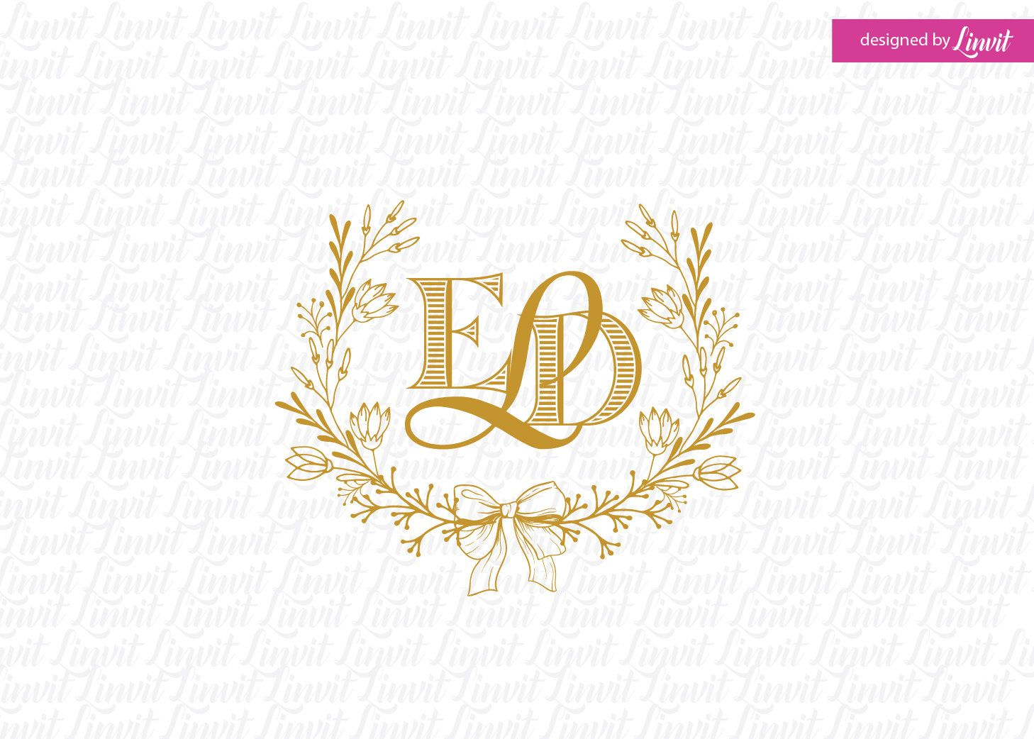 Floral Wreath Logo Wedding Crest Wedding Wreath Diy Wedding Etsy Wedding Logo Monogram Wedding Logos Custom Wedding Monogram