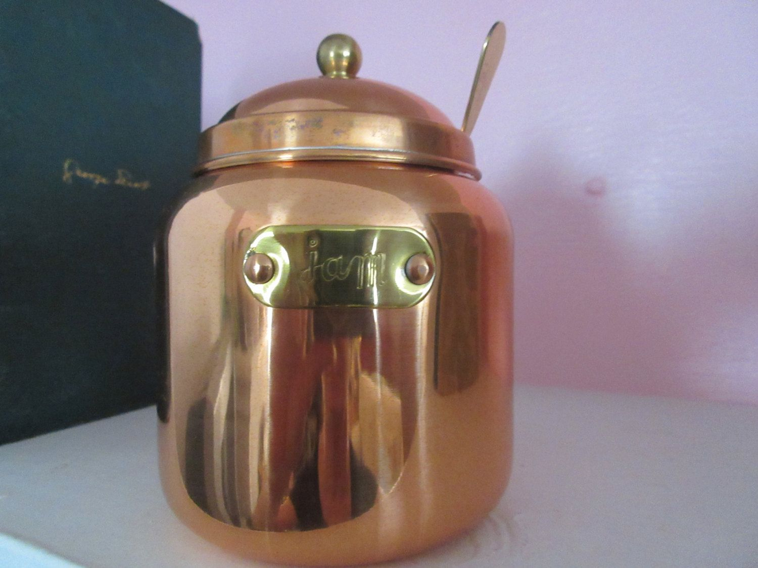 Vintage Copper/Brass Jam Jar with Spoon New/Old w/tags by VintageOfOdds on Etsy