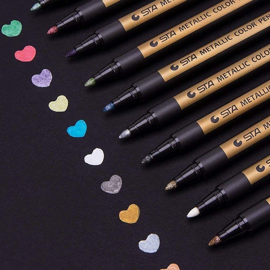 Metallic Marker Set 10 Farben Metallische Stifte Pens DIY Fotoalbum Gästebuch DE