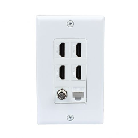 1 Port HDMI and 1 Port USB A-A and Cat6 Ethernet White Wall Plate