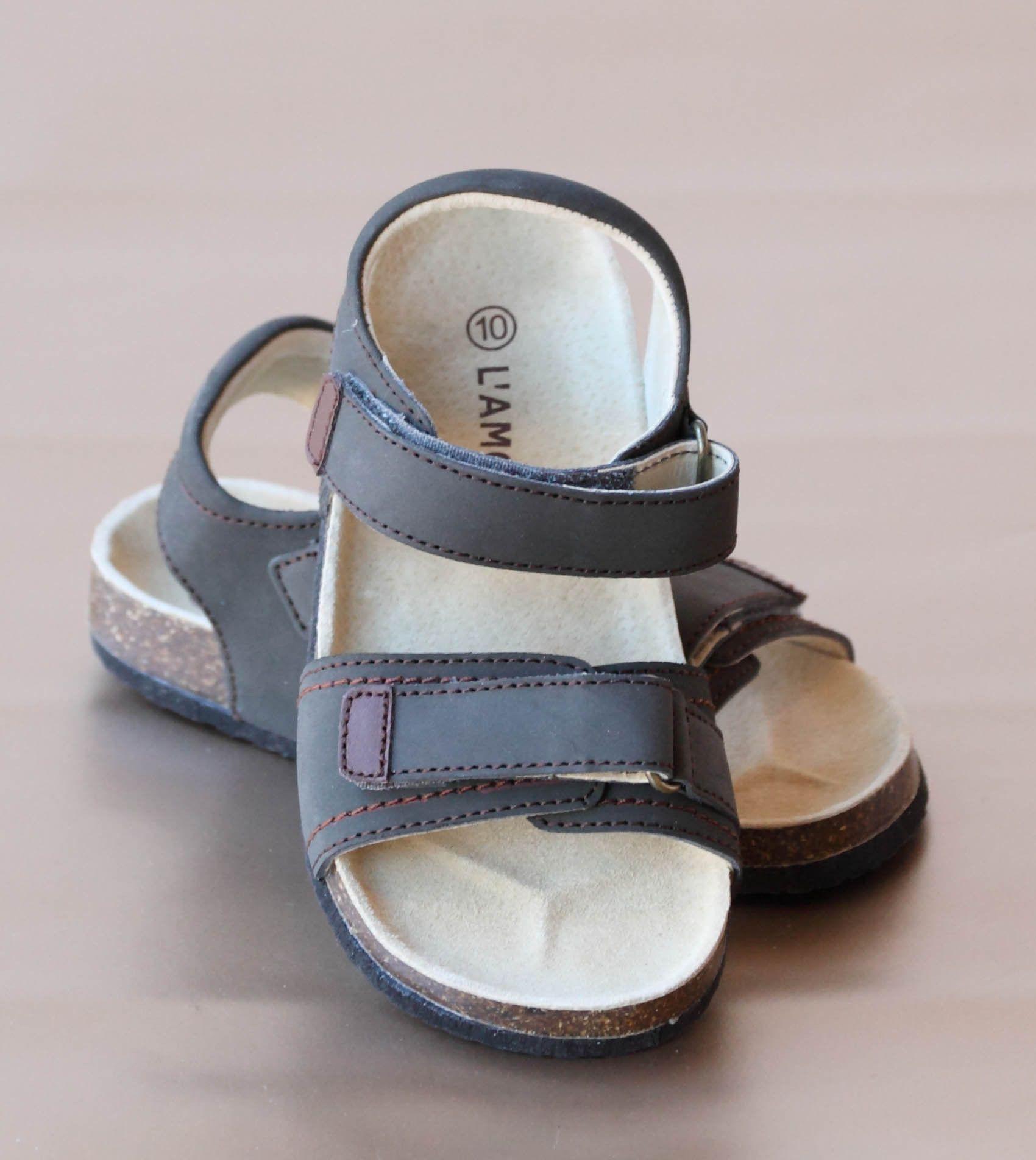 L'Amour Boys Cork Wedge Double Strap Sandal