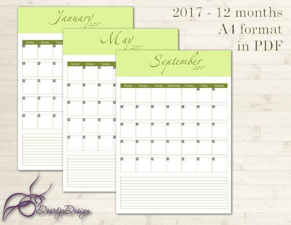 2017 Calendar, Printable Calendar, Green, Printable Monthly Calendar - printable monthly planner