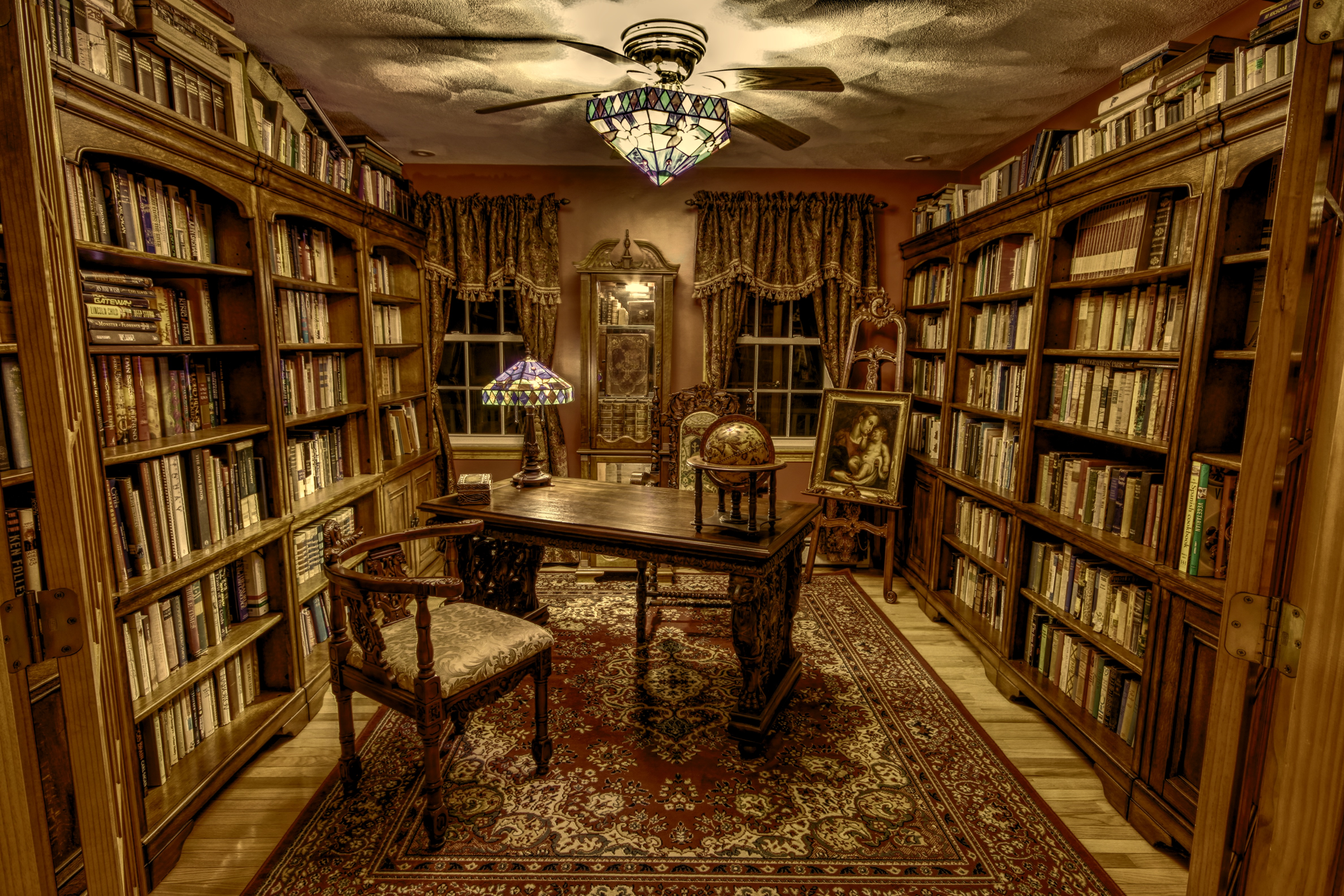 Library Room Ideas oc] my humble small library room, hdr version per request