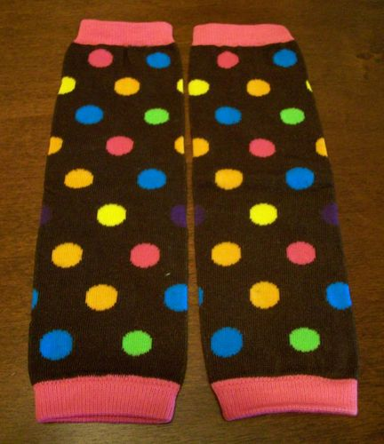 Brown polka dot baby leg warmers
