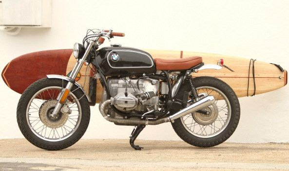Vintage Bmw Motorcycle And Surfboard Combo Defines Style With