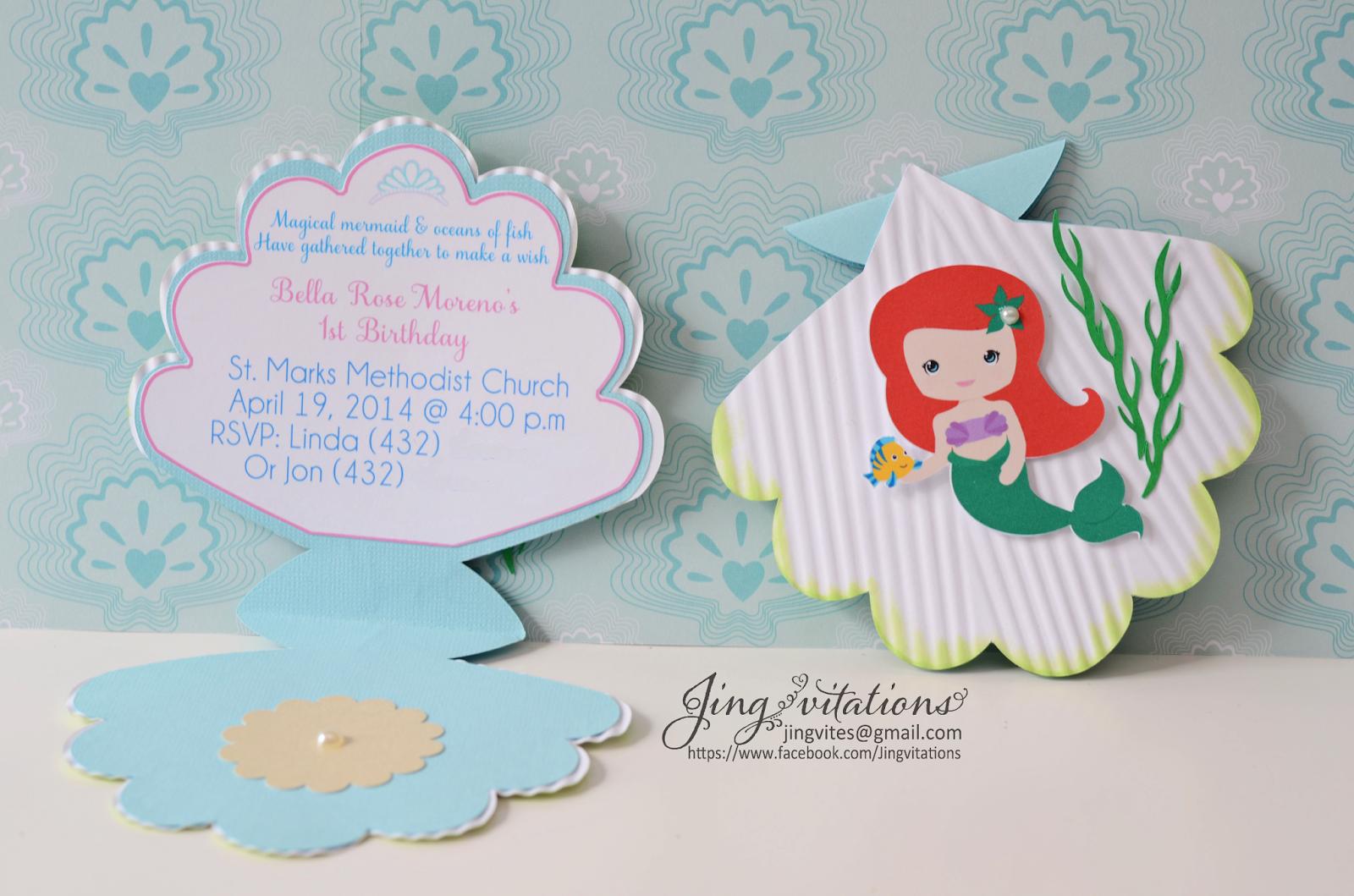 Birthday and baby shower invitations seashell invitations with