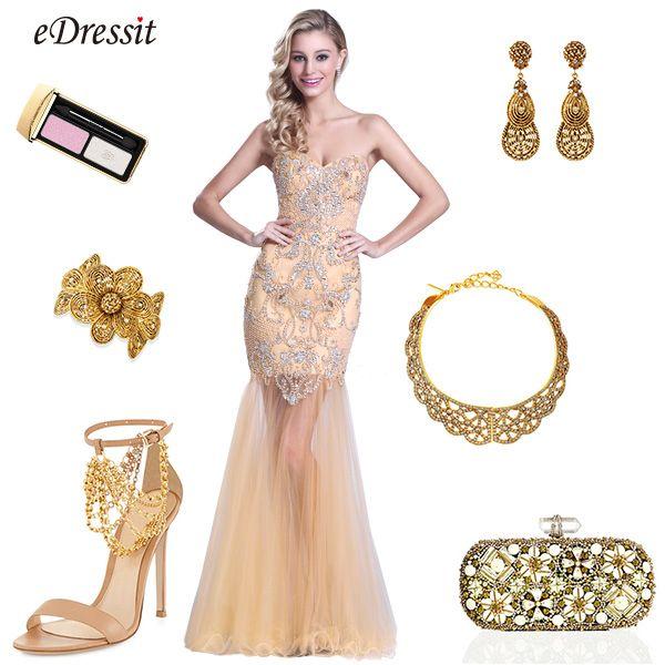 eDressit Ärmellos Süß Herz Perlen Beige Prom Kleid (C36150914 ...