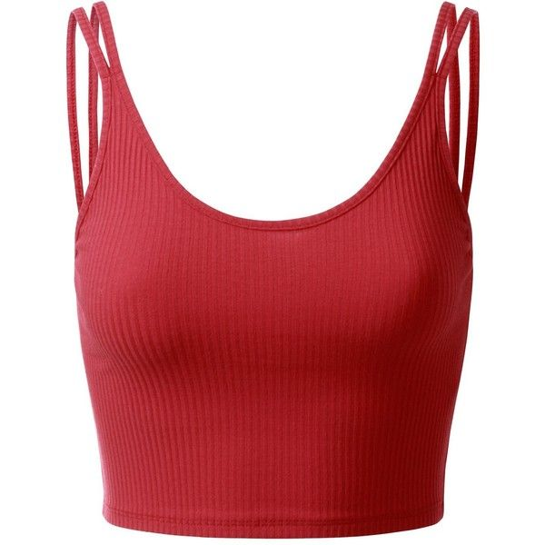 aead51e11b167 Doublju Spaghetti Strap Stappy Ribbed Crop Top (Plus size available) ( 14) ❤