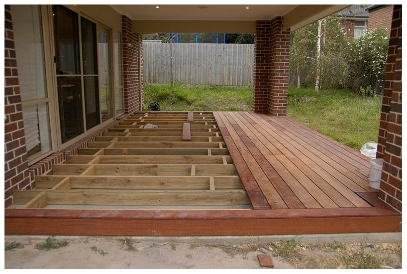 Wood Deck Over Concrete Patio Bordered Edge Rather Than Baseboard